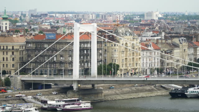 panning: Part of Elisabeth Bridge with Cityscape of Budapest at Day from the Castle Hill panning: Part of Elisabeth Bridge with Cityscape of Budapest at Day from the Castle Hill suspension bridge stock videos & royalty-free footage