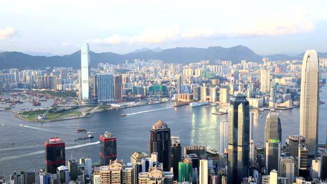 HD Panning shot: Aerial Hong Kong Skyline Cityscape video