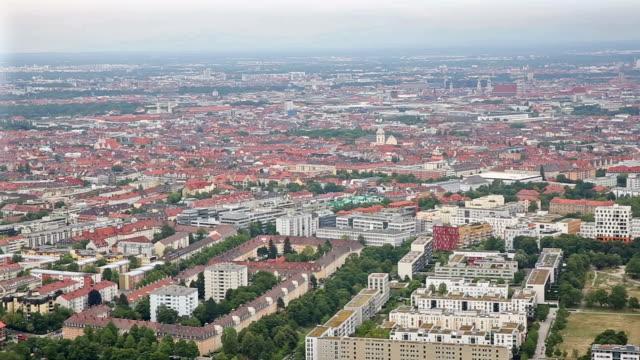 panning shot: aerial landscape of Munich, Germany video