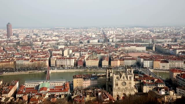 panning shot Aerial Lyon Cityscape Rhone River Notre Dame Fourviere