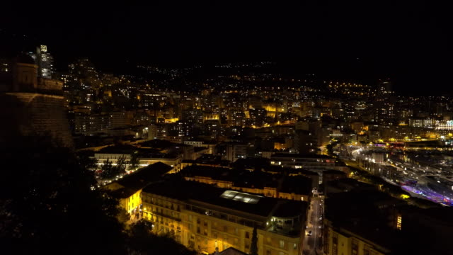 panning shot Aerial Monaco Monte Carlo harbour french riviera night