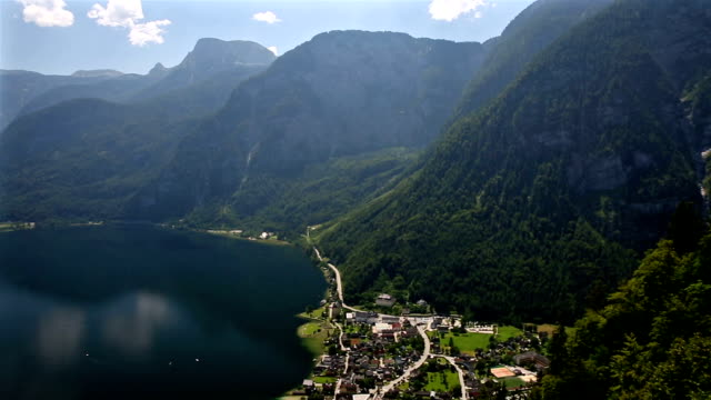 panning shot: aerial view of Hallstatt village and lake, Austria video