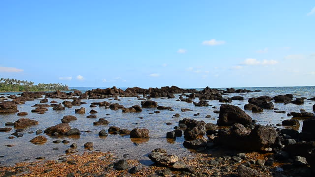 Panning Shot: Beach and Rocks on the Island video