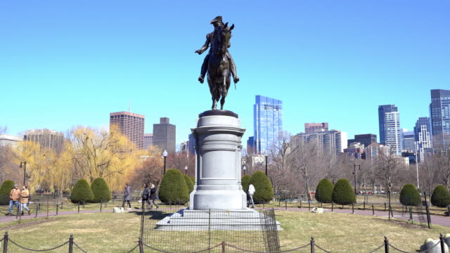 Panning shot George Washington Statue at Boston Common Park, MA USA.