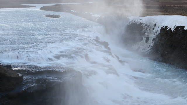 Panning Shot: Gulfoss Golden Falls waterfall Iceland in winter video