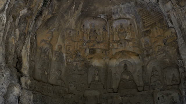Panning shot: Longmen Grottoes Luayang Henan China video