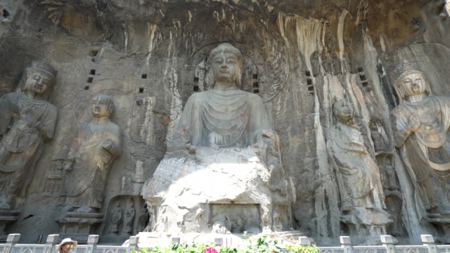 panning shot: longmen grottoes luayang henan china - greek architecture stock videos & royalty-free footage