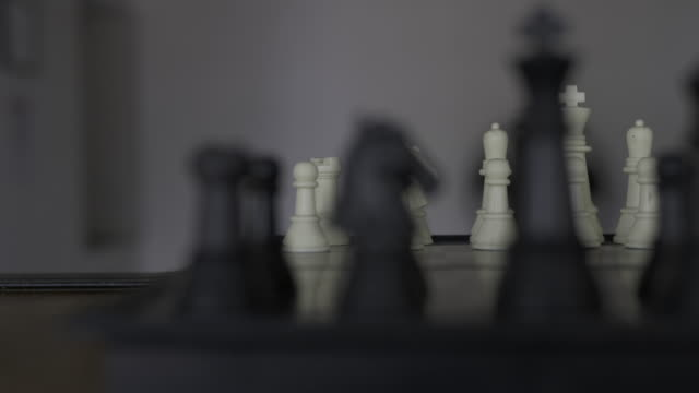 Panning shot of a chess board