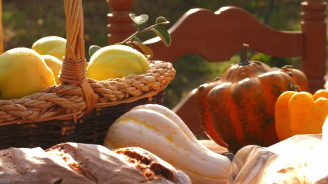 Panning shot of abundance of autumnal fruit and vegetables on a table outdoors