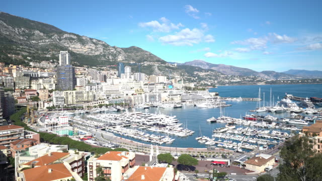 panning shot of Aerial Monaco Monte Carlo harbour french riviera video