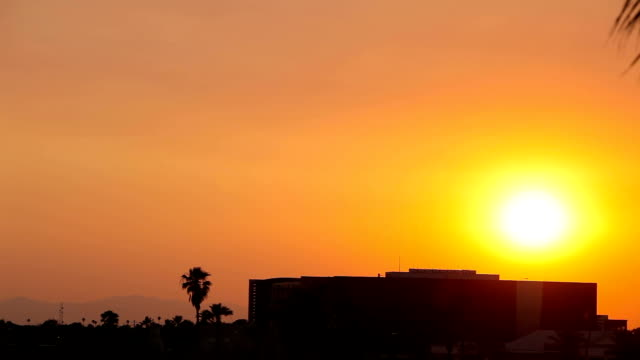 Panning Shot of Beautiful Sunset Over a Building and Palm Trees video