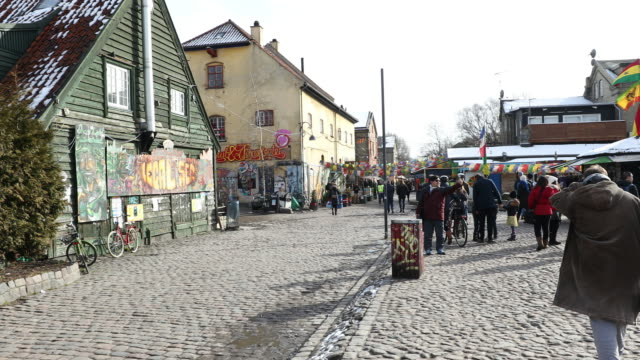 Panning shot of Christiania Free town Copenhagen Denmark 4K Panning shot of Christiania Free town Copenhagen Denmark, UHD 3840x2160 Format hashish stock videos & royalty-free footage