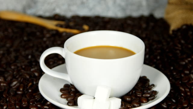 panning shot of coffee cup on coffee beans background video
