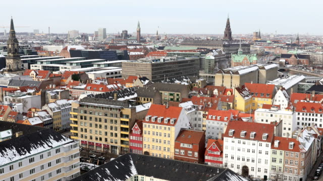Panning shot of Copenhagen Aerial view Denmark video