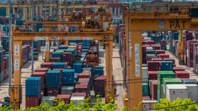 Panning shot of docks and shipping containers,Time lapse video