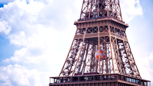 Panning shot of Eiffel tower video