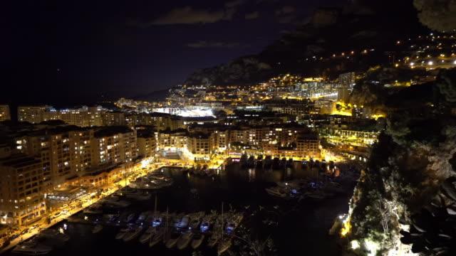 Panning shot of Fontvieille Monaco Monaco French Riviera night video