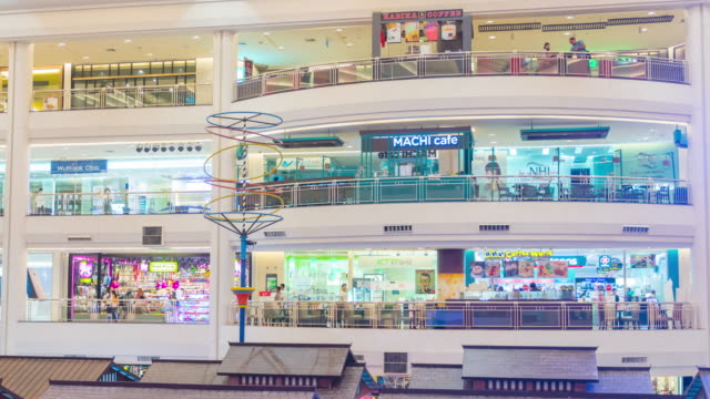 Panning shot of many poeple in shopping mall video