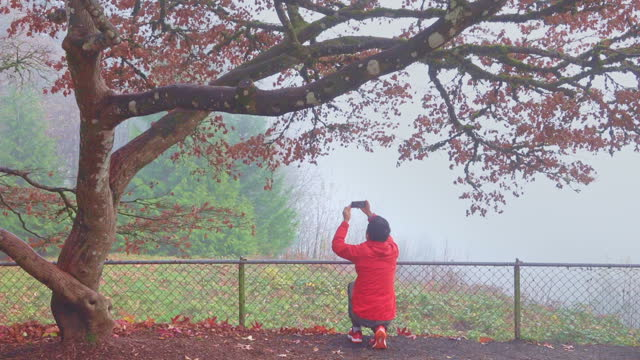 Panning shot of Senior man recording videos of autumn scene with a smartphone video