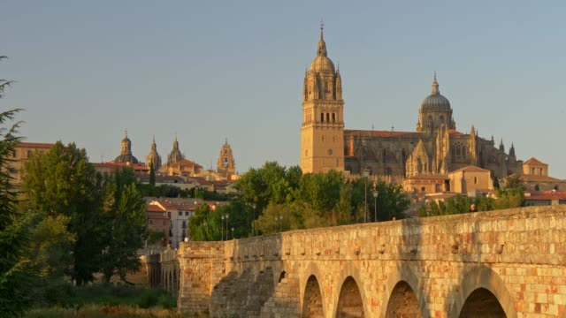 Panning shot of the New Cathedral in Salamanca, Spain during sunset. 4K, UHD