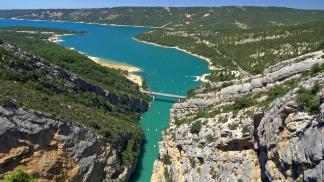 Panning shot of Verdon Gorge in Provence, France.  4K, UHD