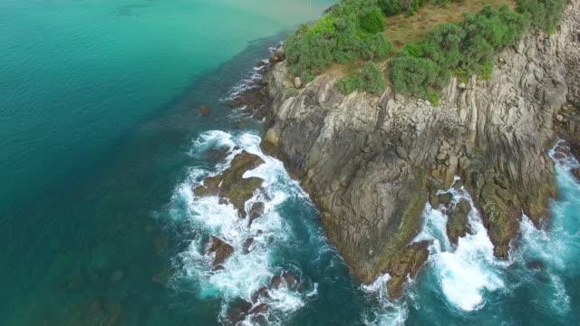 vidéos et rushes de photo panoramique sur les falaises et rochers et des arbres sur la côte - sri lanka
