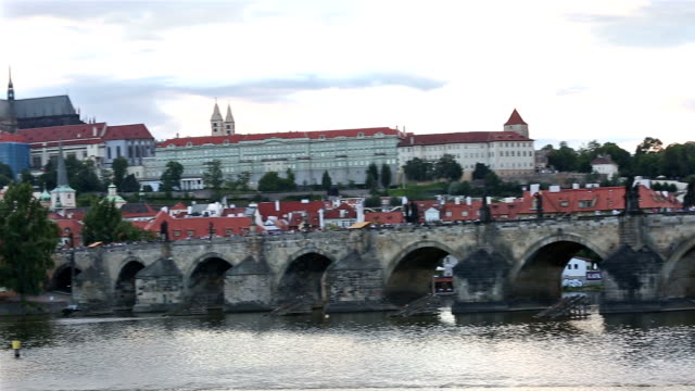 panning shot: Prague cityscape with Vltava river Czech republic