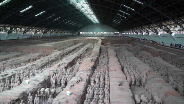 Panning shot: Xian China Terra Cotta Warriors video