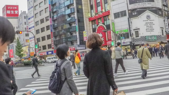 Panning Time lapse : busy pedestrian crossing at Yasukuni dor in Kabukicho video