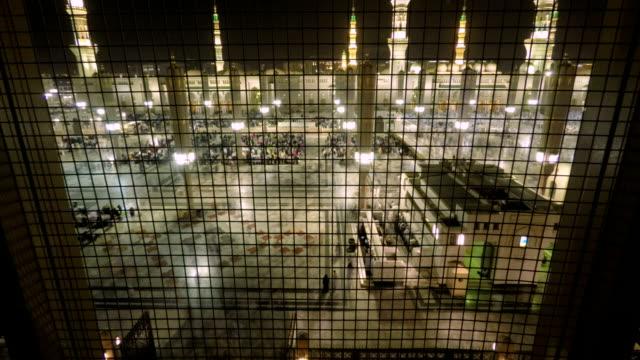 Panning Time Lapse in Medina Saudi Arabia Muslim believers praying video