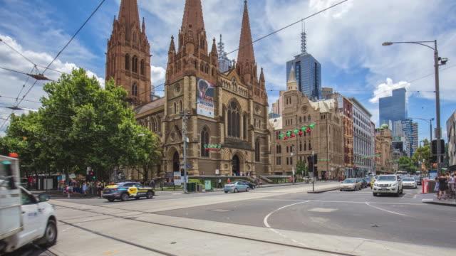 メルボルン、オーストラリアの中心部でのパンの時間経過 - オーストラリア メルボルン点の映像素材/bロール