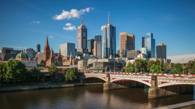 Panning time lapse of Melbourne central Business district on a sunny day video