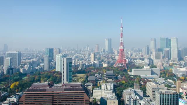 4 k パンの時間経過: 東京都の東京タワー - 東京タワー点の映像素材/bロール