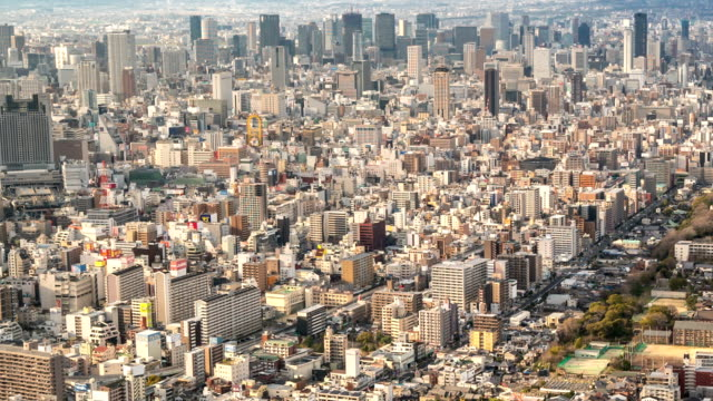 HD Panning Time-lapse: Aerial Osaka Cityscape from Tennoji in action video