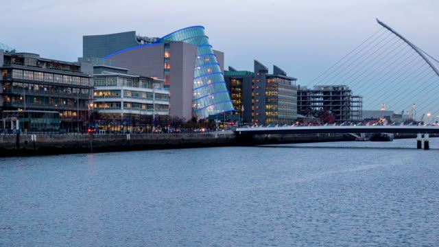Panning timelapse of Liffey river in Dublin Ireland video