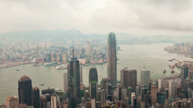 Panning timelapse video of Hong Kong from day to night video