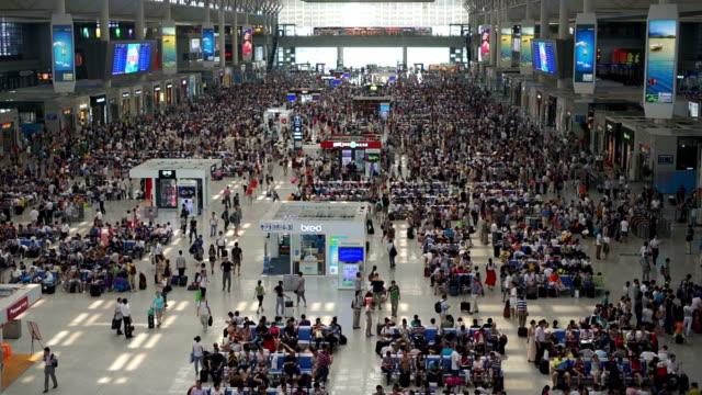 Panning up through Hongqiao train station in Shanghai. video