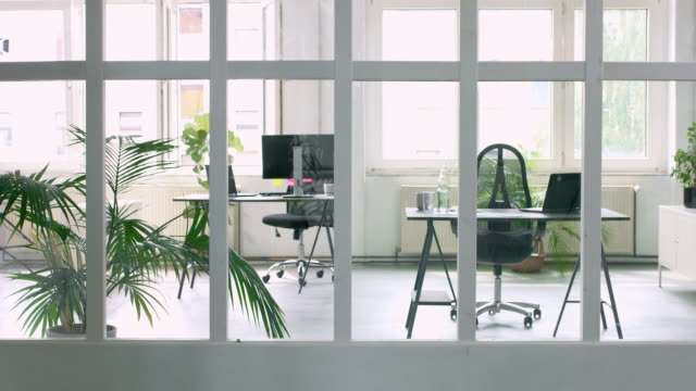 Panning video of an empty Office Panning video of an empty Office, space is very minimalist with lots of plants. coworking stock videos & royalty-free footage