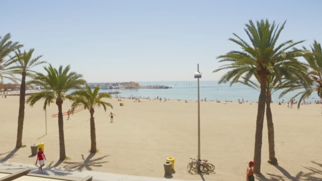 Panning video of Barceloneta beach in Barcelona, Spain video