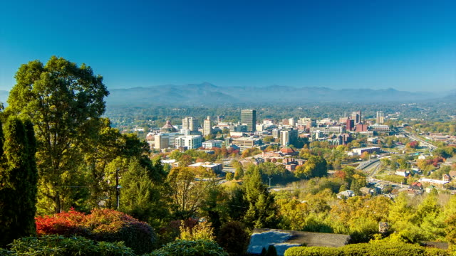 Panning View of Asheville City Downtown from Town Mountain video