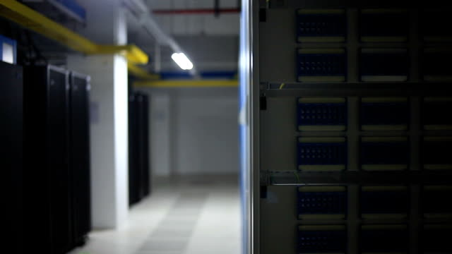 Panning view of server room interior