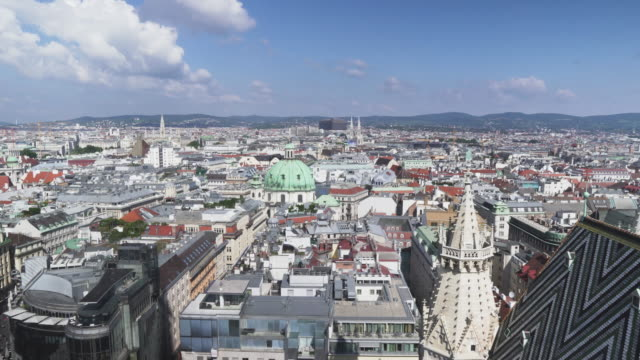 panning view of  Vienna city from St. Stephen's Cathedral, Austria