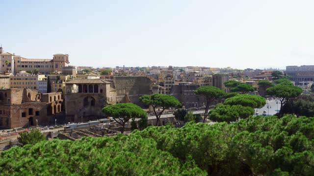 Panorama from Il Vittoriano monument on Capitol hill. View from Trajan Forum to Coliseum in Rome