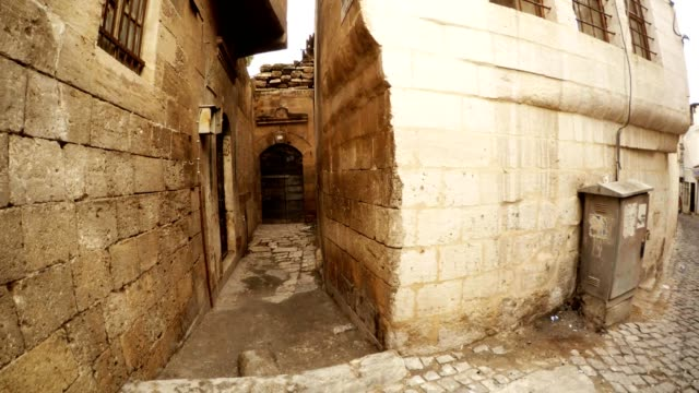 Panorama from Left to Right Old Narrow Paved Streets  in Sanliurfa video