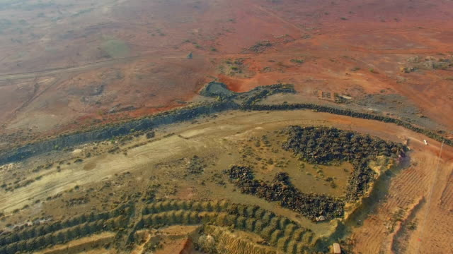 Panorama Goldfields and old gold mine in the Australian outback. Aerial view