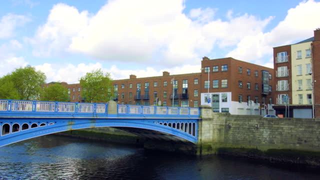 Panorama in Sunny day of Liffey Bridge in Dublin, Ireland video