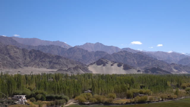 Panorama landscape view looking from Shey Palace in Leh Ladakh, Northern India video
