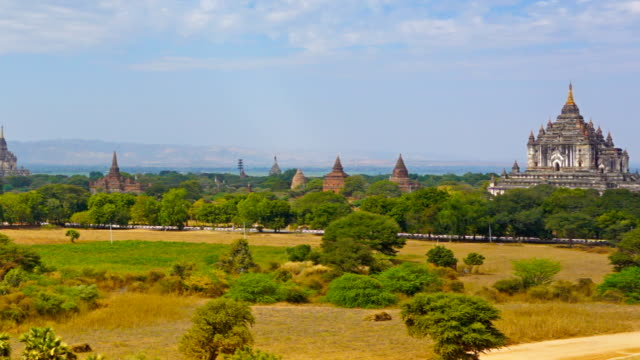 Panorama landscape with Temples in Bagan Panorama landscape with Temples in Bagan, Myanmar (Burma), timelapse bagan stock videos & royalty-free footage