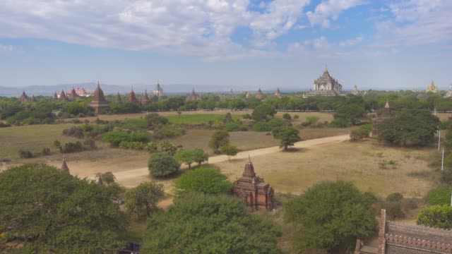 Panorama landscape with Temples in Bagan Panorama landscape with Temples in Bagan, Myanmar (Burma), 4k bagan stock videos & royalty-free footage