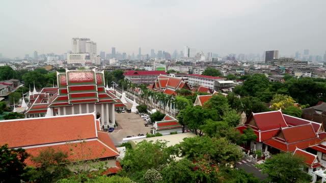 panorama of bangkok downtown - верующий стоковые видео и кадры b-roll